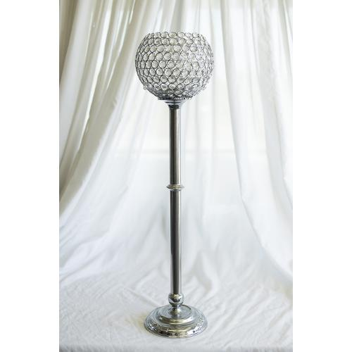 Acrylic Beaded Cup Chrome Candlesticks