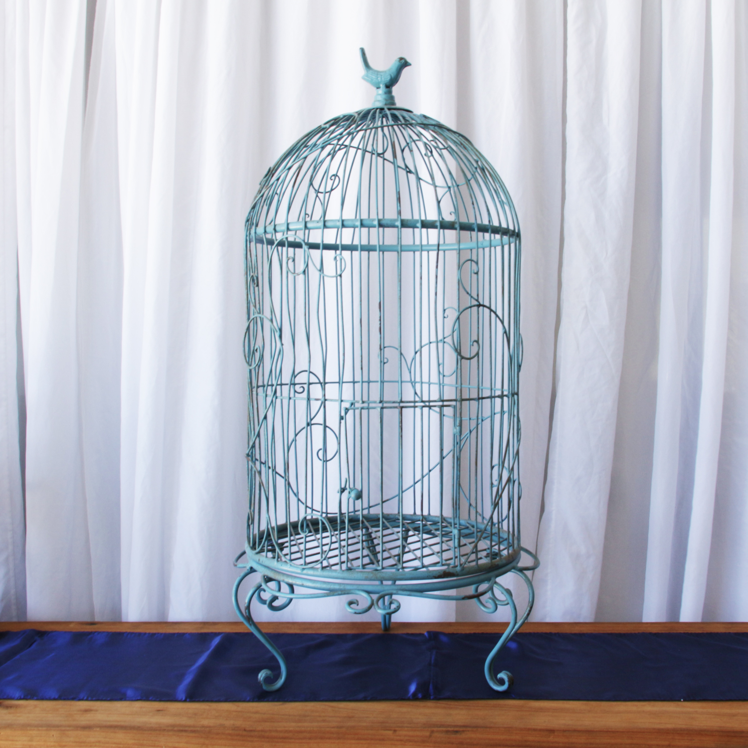 Antique Blue Antique Round Birdcage