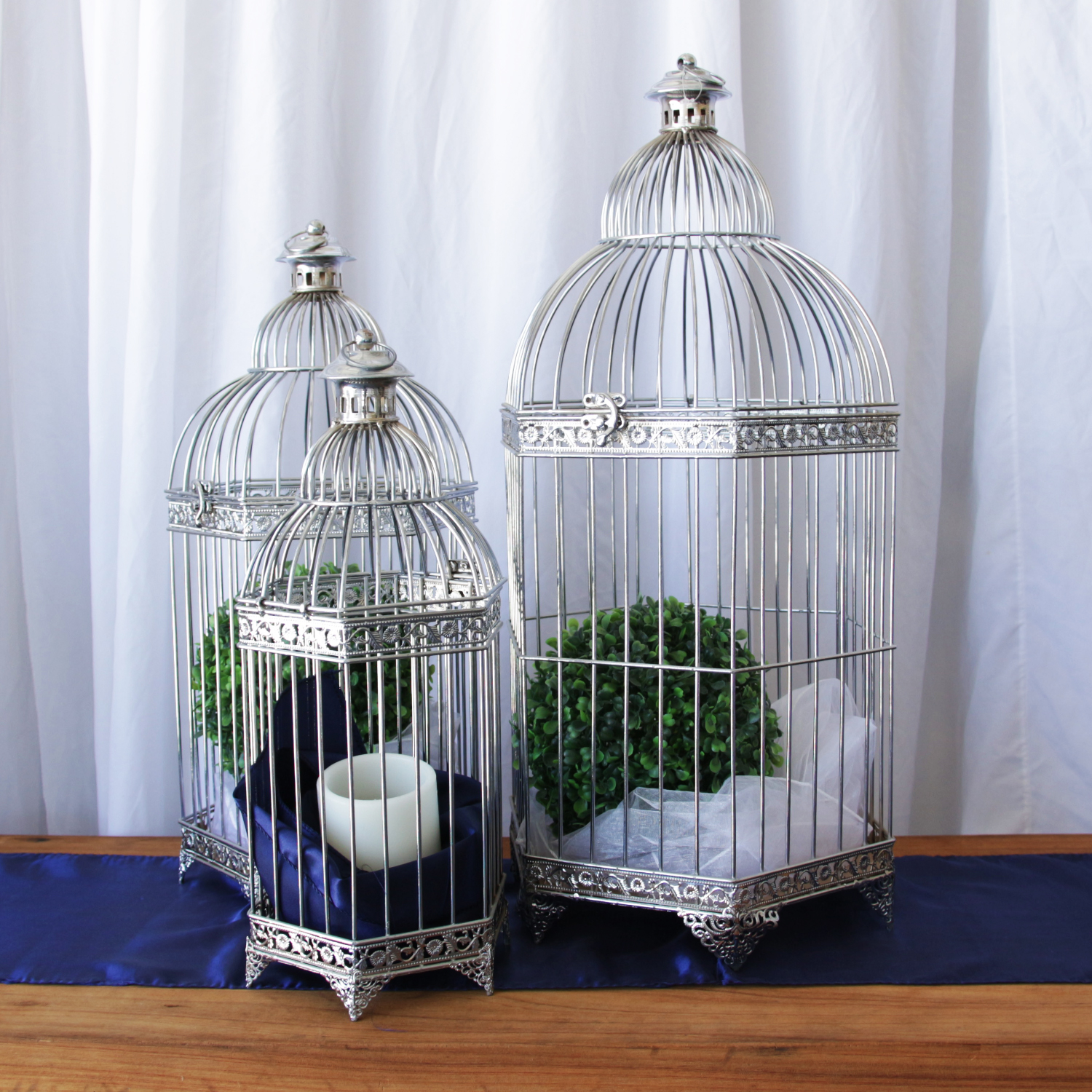Chrome Birdcages (Set of 3)