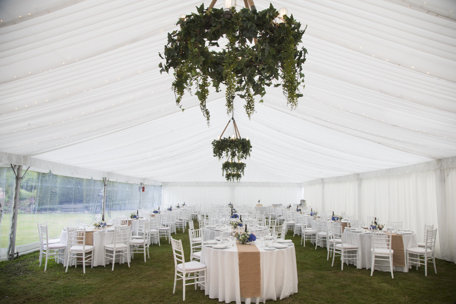Silk marquee with green hanging