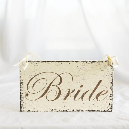 Bride and Groom' White Distressed Signs (Set of 2)