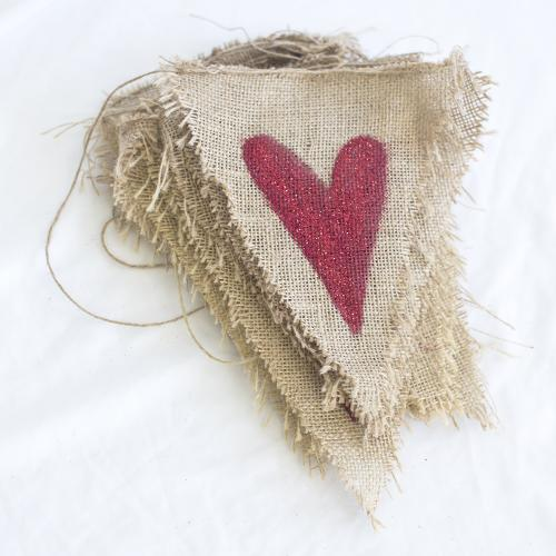Hessian Bunting with Red Painted Hearts