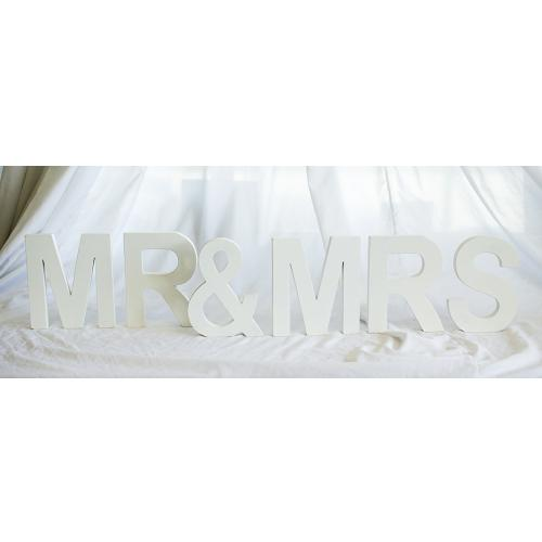 Wooden Freestanding Letters 'Mr & Mrs' - White