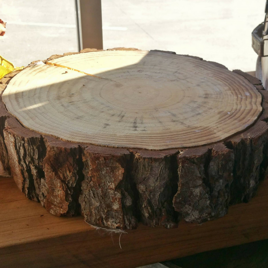 Rustic Natural Wooden Cake Stand w/ Bark