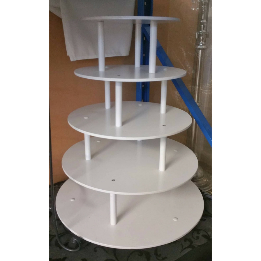 Five Tier Round White Cake Stand