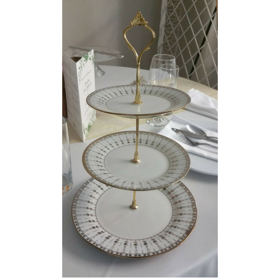 Three Tier Gold Stand with gold and white plates