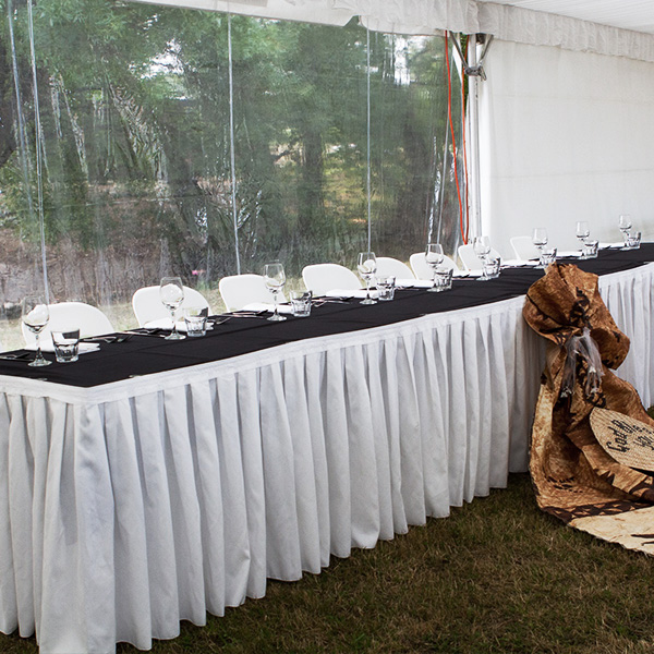 Table skirt - white, black and ivory